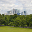 LONDON, UK - June 17, 2014: Canary wharf business and banking aria view from the hill — Stock Photo #49900401
