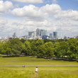 LONDON, UK - June 17, 2014: Canary wharf business and banking aria view from the hill — Stock Photo #49900467