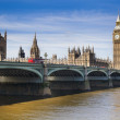 LONDON, UK - MAY 14, 2014: Big Ben and houses of Parliament on the river Thames, London UK — Stock Photo #49905257