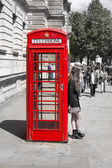 LONDON, UK - MAY 14, 2014: British red telephone box near Westminster tube station, London — Stock Photo