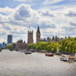 LONDON, UK - JULY 14, 2014: Big Ben and houses of Parliament on the river Thames, London UK — Stock Photo #49911375