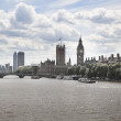 LONDON, UK - JULY 14, 2014: Big Ben and houses of Parliament on the river Thames, London UK — Stock Photo #49911417