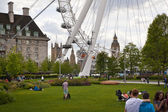 LONDON, UK - MAY 14, 2014: Jubilee park on south bank of the river Thames with London Eye view — 图库照片