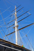 LONDON UK - JUNE 6, 2014: English fast clipper Curry Sark  of 19 century preserved and open like a museum — Stock Photo