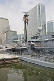LONDON, UK - MAY 17, 2014: German army military ships based in Canary Wharf aria, to be open for public in educational content. — ストック写真