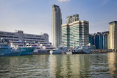 LONDON, UK - MAY 17, 2014: German army military ships based in Canary Wharf aria, to be open for public in educational content. — Stok fotoğraf