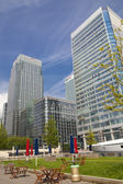 LONDON, UK - JULY 14, 2014: Modern glass architecture of Canary Wharf aria the leading centre of global finance, banking, media, insurance etc. Office buildings — ストック写真