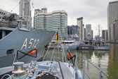 LONDON, UK - MAY 17, 2014: German army military ships based in Canary Wharf aria, to be open for public in educational content. — Stock Photo