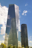 MADRID, SPAIN - MAY 28, 2014: Madrid city, business centre, modern skyscrapers, Cuatro Torres 250 meters high — Stock Photo