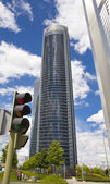 MADRID, SPAIN - MAY 28, 2014: Madrid city, business centre, modern skyscrapers, Cuatro Torres 250 meters high — Foto Stock