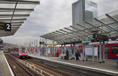 LONDON, UK - JUNE 3, 2014: Canary wharf DLR station, business and banking aria — Stock Photo