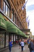 LONDON, UK - JUNE 3, 2014: Harrods department store, shopping and restaurants tourists point. Harrods was opened at 1849 and now it is one of the most famous luxury store in London. — Stock Photo