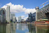 LONDON, UK - JUNE 24, 2014: Modern architecture Canary Wharf the leading centre of global finance — Stock Photo