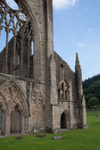 WALES, UK - 26 JULY 2014: Tintern abbey cathedral ruins. Abbey was established at 1131. Destroyed by Henry VIII. Famous as Welsh ruins from 17the century. — Stock Photo
