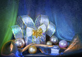 Christmas background with snowflakes and silver balls — Stock Photo