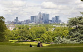 LONDON UK - JULY 28, 2014: View on business district Canary Wharf from old English park, south of London — Stock Photo