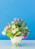 Flower and potted beautiful on wooden table background — Stock Photo
