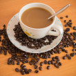 Coffee espresso and Coffee beans — Stock Photo