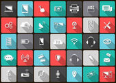 Technology Icons on colorful squares — Stock Vector