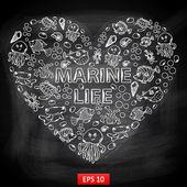 Мел Совет морской жизни в форме сердца — Cтоковый вектор