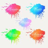 Ink blots Seasons — Stock Vector