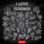 Scrap set I love summer on blackboard — Stock Vector