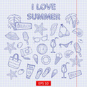 Scrap set I love summer — Stock Vector