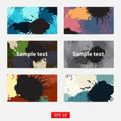 Set of six inks abstract background — Stock Vector