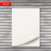 Stack of white album sheets on a wooden background — Stock Vector