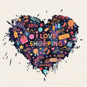 Shopping background with colorful blots,inks — Stock Vector