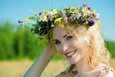 Wreath of wild flowers — Stock Photo