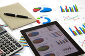 Modern business and stock market analyze with digital tablet, — Stock Photo