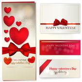 набор дизайн карточки валентинов день — Cтоковый вектор