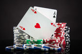 Close-up of professional poker table — Stock Photo