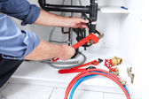 Plumber pipe installation — Stock Photo