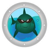 邪悪な魚舷窓を検索します。 — ストックベクタ