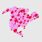 Bubble Hearts Map of North America — Stock Vector