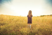 The little girl with long hair in a blue dress costs a back in a field and looks forward — Stock Photo