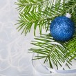Stock Photo: Christmas ball with fir-tree branches on abstract background