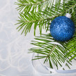 Christmas ball with fir-tree branches on abstract background — Stock Photo