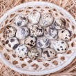 Quail eggs in a wicker basket with straw , top view — Stock Photo