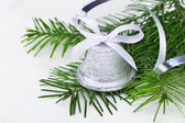 Christmas bell with fir-tree twigs — Foto Stock
