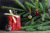 Composition with Christmas decorations — Stockfoto