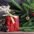 Composition with Christmas decorations — Stock Photo
