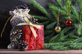 Composition with Christmas decorations — Стоковое фото
