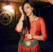 Beautiful asian woman in interior — Stock Photo