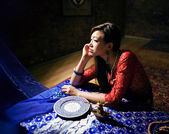 Beautiful asian woman in interior — Stok fotoğraf