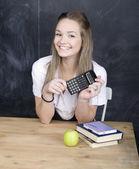 Retrato de feliz bonito aluno em sala de aula — Fotografia Stock