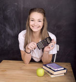 Portrait of happy cute student in classroom — Stock fotografie