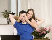 Portrait of happy family, young couple at home — Stock Photo